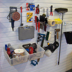 Garage storage using slatwall panels