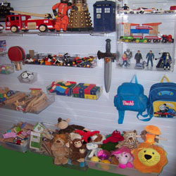 Playroom storage using slatwall panels
